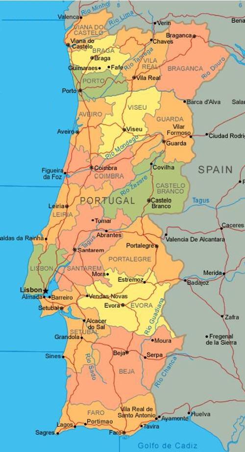 Portogallo Cartina Fisica E Politica.Portogallo Carta Fisica
